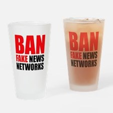 Ban Fake News Networks Drinking Glass
