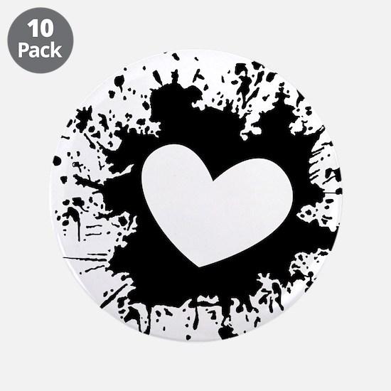 "Ink Heart Paint Love Splash 3.5"" Button (10 pack)"