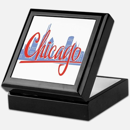 Chicago Red Script On Dark.png Keepsake Box