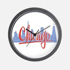 Chicago Red Script On Dark.png Wall Clock