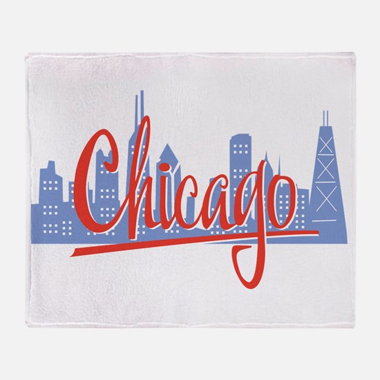 Chicago Red Script On Dark.png Throw Blanket