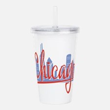 Chicago Red Script On Acrylic Double-Wall Tumbler