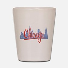 Chicago Red Script On Dark.png Shot Glass