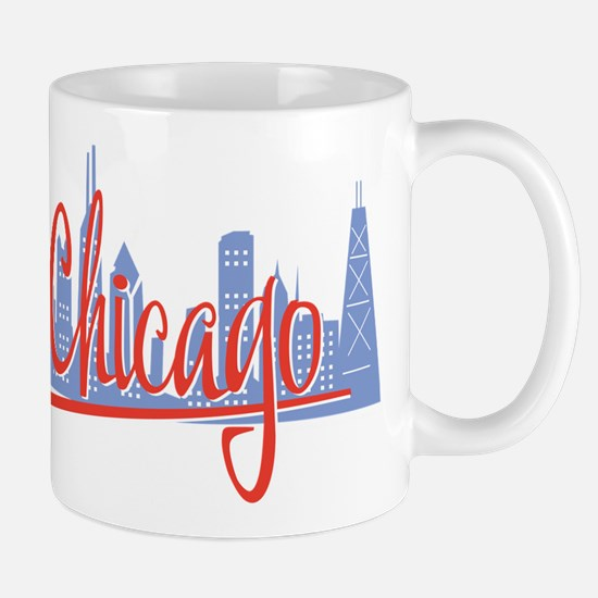 Chicago Red Script On Dark.png Mugs