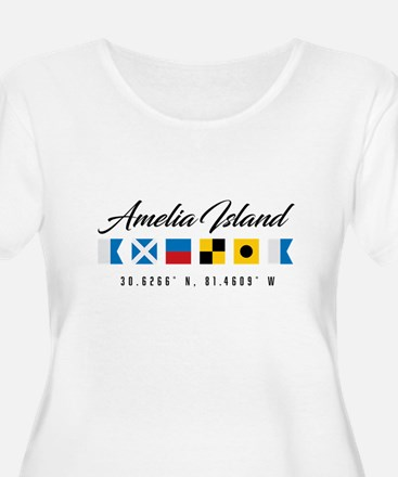 Amelia Island Nautical Flags Plus Size T-Shirt