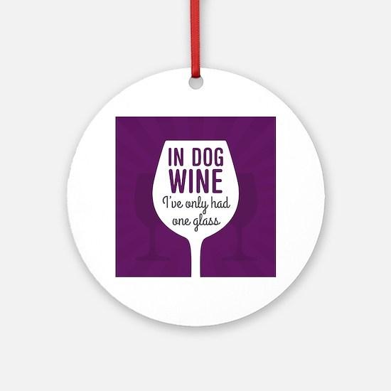 Dog Wine Round Ornament