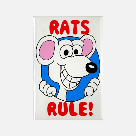 White Rats Rule Rectangle Magnet
