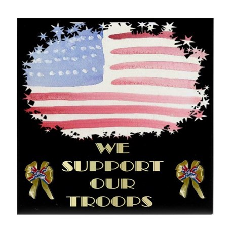Support Our Troops Black Tile Coaster