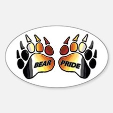 2 BEAR PRIDE PAWS/TEXT Oval Decal