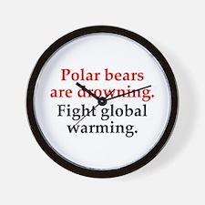 Save Polar Bears Wall Clock