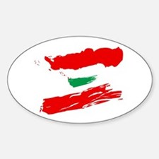 Lebanese Flag Brush Oval Decal