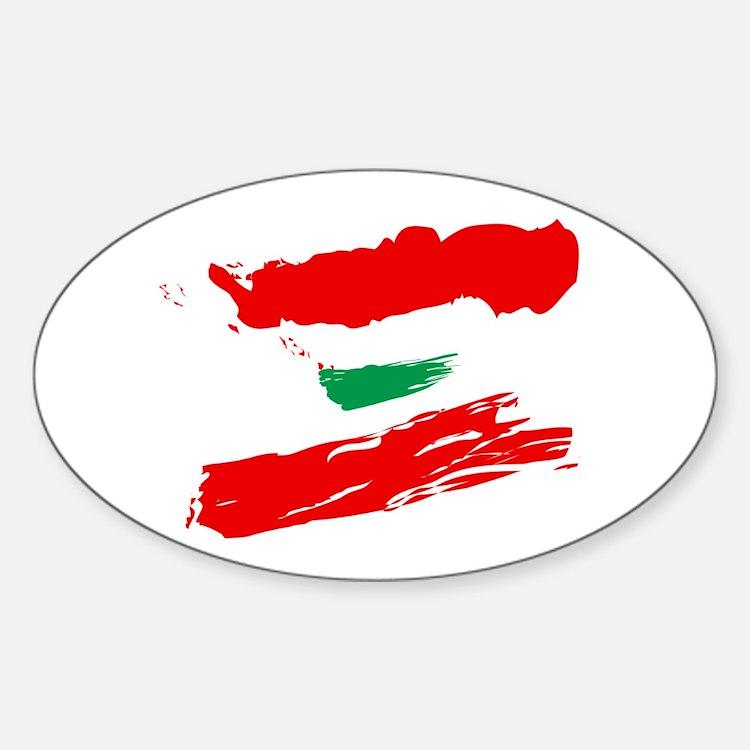 Lebanese Flag Brush Oval Decal
