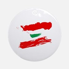 Lebanese Flag Brush Ornament (Round)