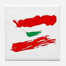Lebanese Flag Brush Tile Coaster