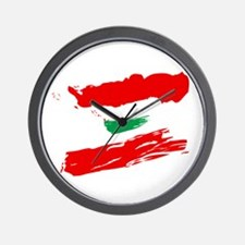 Lebanese Flag Brush Wall Clock