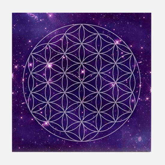 Flower Of Life Motif Tile Coaster