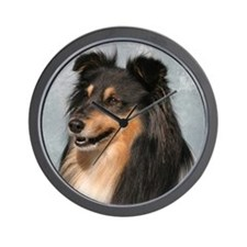 Cute Shetland sheepdog agility Wall Clock