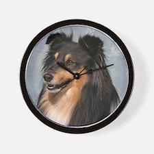 Cute Shetland sheepdog agility mach Wall Clock