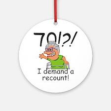 Recount 70th Birthday Funny Old Lady Round Ornamen