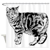 Cat pencil drawing Shower Curtains