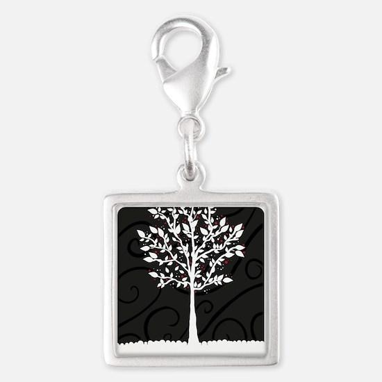 Love Tree Silver Square Charm