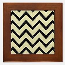 CHEVRON9 BLACK MARBLE & BEIGE LINEN (R Framed Tile