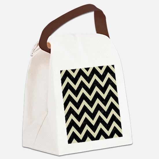 CHEVRON9 BLACK MARBLE & BEIGE LIN Canvas Lunch Bag