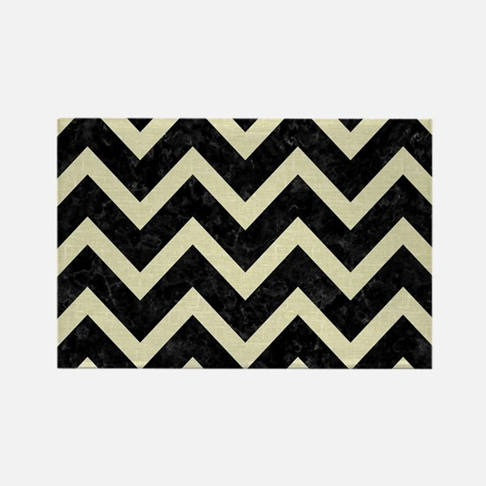 CHEVRON9 BLACK MARBLE & BEIGE LIN Rectangle Magnet