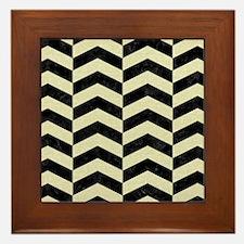 CHEVRON2 BLACK MARBLE & BEIGE LINEN Framed Tile