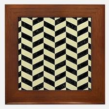 CHEVRON1 BLACK MARBLE & BEIGE LINEN Framed Tile