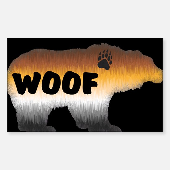 PRIDE BEAR/WOOF/BLK Rectangle Decal