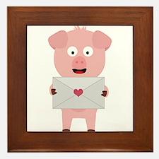 Cute Pig with Loveletter Framed Tile