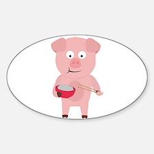 Kawaii Pig eating rice Decal