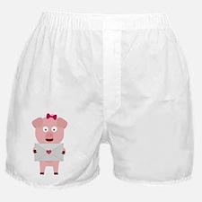 Female Pig with Loveletter Boxer Shorts
