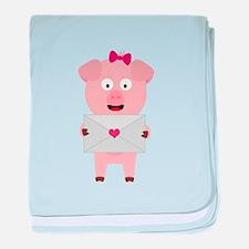 Female Pig with Loveletter baby blanket