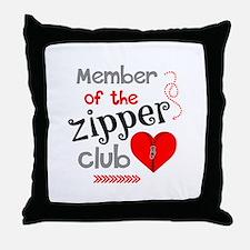 Member of the Zipper Club Throw Pillow