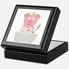 Pig in Bathtube with bubbles Keepsake Box