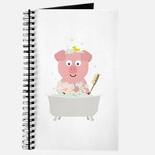 Pig in Bathtube with bubbles Journal
