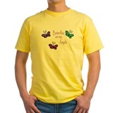 Angels and butterflies Mens Yellow T-shirts