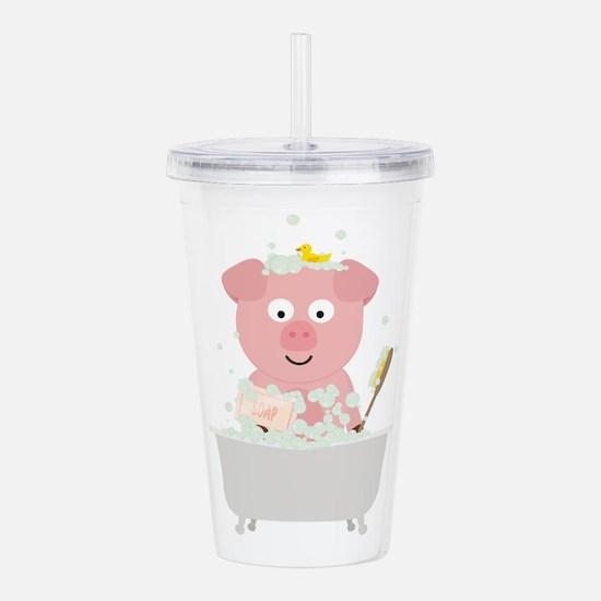 Pig in Bathtube with b Acrylic Double-wall Tumbler