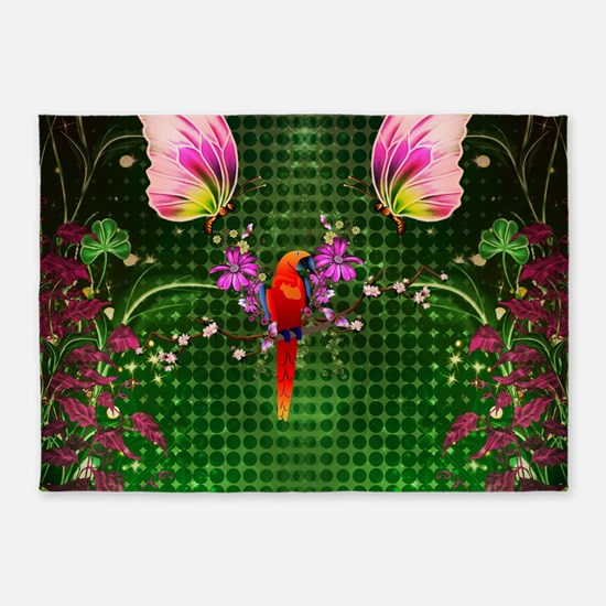 Cute parrot with flowers and butterflies, tropical