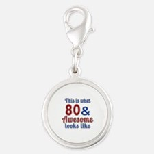 80 Awesome Birthday Designs Silver Round Charm