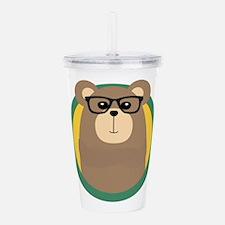 Nerd Brown Bear with c Acrylic Double-wall Tumbler