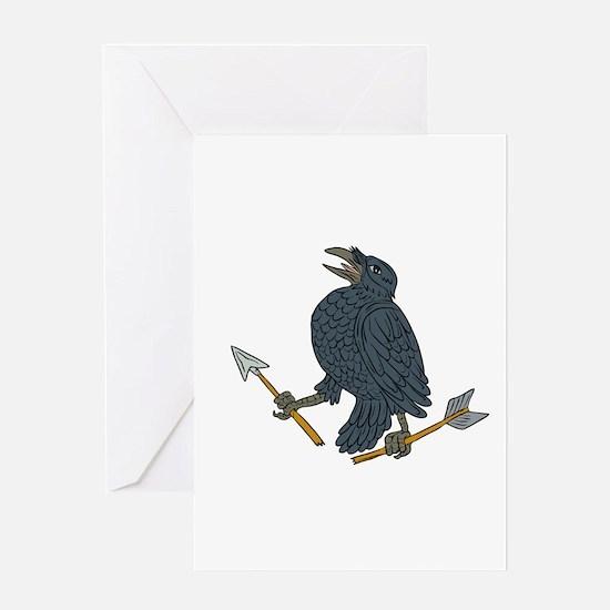 Crow Clutching Broken Arrow Drawing Greeting Cards