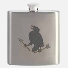 Crow Clutching Broken Arrow Drawing Flask
