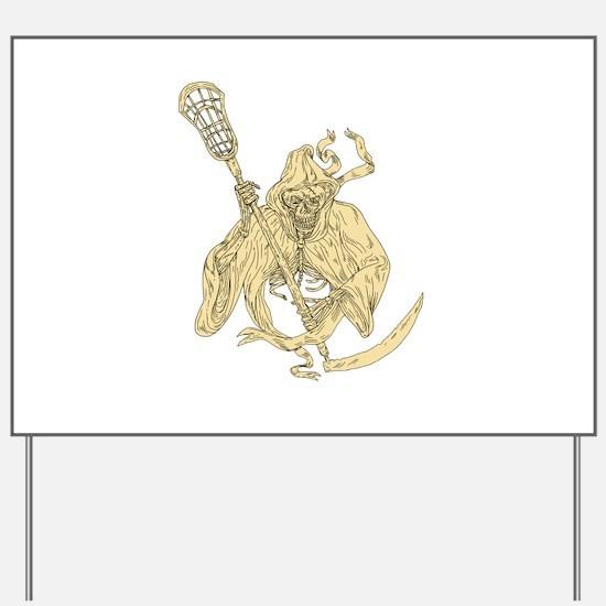 Grim Reaper Lacrosse Stick Drawing Yard Sign