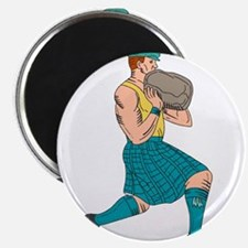 Stone Throw Highland Games Athlete Drawing Magnets