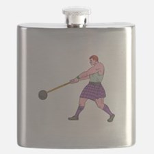 Weight Throw Highland Games Athlete Drawing Flask