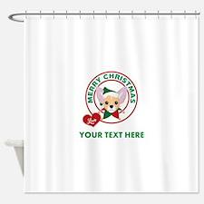 Custom Chihuahua Christmas Shower Curtain