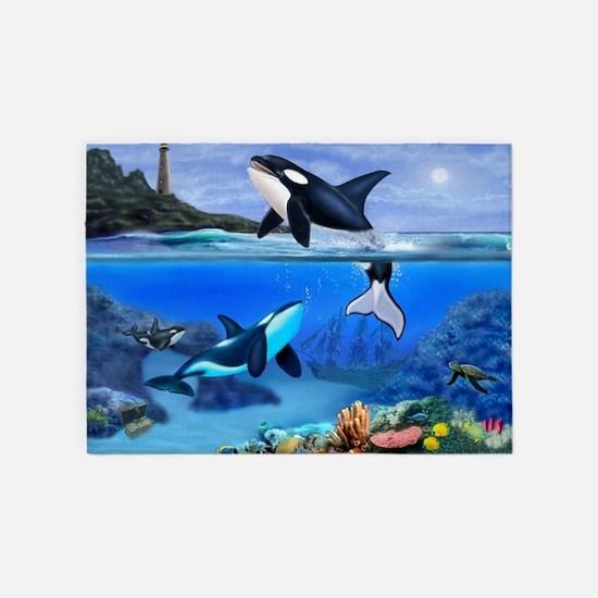 THE ORCA FAMILY 5'x7'Area Rug